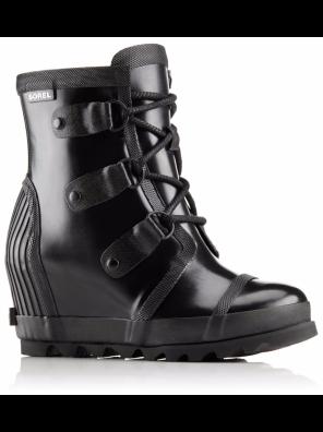 Sorel Joan Waterproof Rain Wedge Gloss Boot in Black/Sea Salt